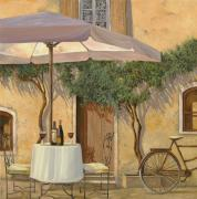 Wine Glasses Paintings - Un Ombra In Cortile by Guido Borelli