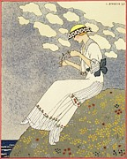 Thinking Framed Prints - Un Peu... Framed Print by Georges Barbier