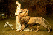 Lion And Lamb Framed Prints - Una and Lion from Spensers Faerie Queene Framed Print by Briton Riviere