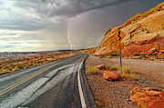 Jamie Pham Metal Prints - Uncertainty - Lightning striking during a storm in the Valley of Fire State Park in Nevada. Metal Print by Jamie Pham