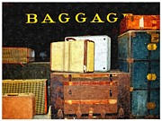 Bags Prints - Unclaimed Baggage At The Steam Engine Print by Glenn McCarthy Art and Photography