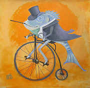Penny Farthing Framed Prints - Uncle Bernard Framed Print by Marina Gnetetsky