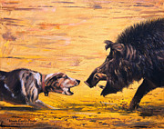 Wild Boar Paintings - Uncle Earls Pride by Mike Roberts