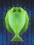 Anthropomorphism Prints - Uncle Fish Drops By For Dinner Print by Wendy J St Christopher