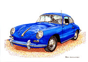 Sports Framed Prints Prints - Uncle Jacks 1956 Porsche 356 Print by Jack Pumphrey