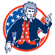 Senior Digital Art - Uncle Sam American Pointing Finger Flag Retro by Aloysius Patrimonio
