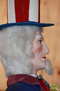 Stripe.paint Posters - UNCLE SAM CLOSEUP RED WHITE and BLUE Poster by Robert D  Brozek