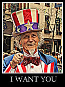 Featured Pyrography Posters - Uncle Sam Poster by Pat Marzinsky