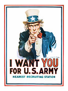 Enlistment Posters - Uncle Sam Poster by Presented By American Classic Art