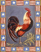 Animal Patriotic Art Framed Prints - Uncle Sam the Rooster Framed Print by Linda Mears