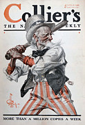 World War One Paintings - Uncle Sam Up To Bat by Ira Shander