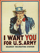 Flagg Posters - Uncle Sam Wants You Poster by Underwood Archives