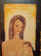 Caring Mother Paintings - Unconditional Love by Kathleen Peltomaa Lewis