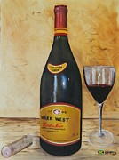 Wine Bottle Paintings - Uncorked - Mark West by Kenneth Harris