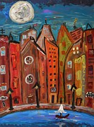 Outsider Art Paintings - Under a Magical Moon by Mary Carol Williams
