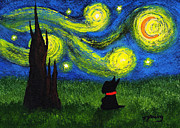 Scottie Painting Posters - Under a Starry Night Poster by Todd Young