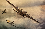 Historic Aviation Prints - Under Attack Print by Peter Chilelli
