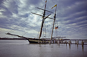 Tall Ship Prints - Under Cloudy Skies Print by Skip Willits