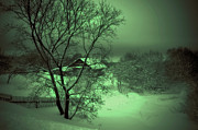 Snowy Winter Photos - Under Green Moon by Jenny Rainbow