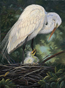 Egret Pastels Posters - Under Moms Watchful Eye Poster by Deb LaFogg-Docherty
