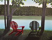 Adirondack Paintings - Under Muskoka Trees by Kenneth M  Kirsch