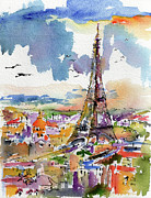 Large Paintings - Under Paris Skies Eiffel Tower by Ginette Callaway