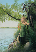 Realistic Painting Originals - Under the Arbor by Holly Kallie