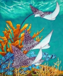 Blue Art Tapestries - Textiles Prints - Under the Bahamian Sea Print by Daniel Jean-Baptiste