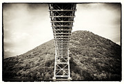 Black And White Mountain Prints Framed Prints - Under the Bear Mountain Bridge Framed Print by John Rizzuto
