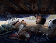 Scared Painting Originals - Under the Bed by Isabella Kung