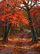 Country Dirt Roads Painting Prints - Under The Blazing Canopy Print by Frank Wilson