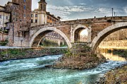 Italy Pyrography Posters - Under the bridge Poster by Federico Napoleoni