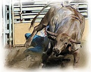 Bull Riders Prints - Under The Bull Print by Roland Stanke