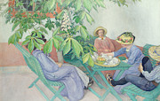 Patio Prints - Under the Chestnut Tree Print by Carl Larsson