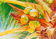 Golden Brown Painting Posters - Under the Coconut Palm Poster by Janis Grau