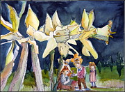 Fairies Drawings Prints - Under the Daffodils Print by Mindy Newman
