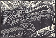 Linoleum Drawings - Under the Dragon by Jennifer Harper