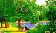 Summer Along The Canal Paintings - Under The Dreamers Shade Tree Lachine Canal Park Grounds Summer Montreal Scenes Carole Spandau by Carole Spandau