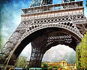 Paint Photograph Posters - Under The Eiffel Poster by Karen  Burns