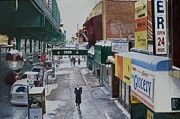 Pedestrians Prints - Under the El 86th Street Brooklyn Print by Anthony Butera