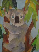 Koala Art Posters - Under The Eucalpytus Leaves Poster by Diane  Miller