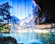 Hamilton Pool Texas Posters - Under the Falls Poster by Rob Weisenbaugh