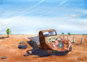 Rusty Truck Paintings - Under the Hot Australian Sun by Rich Stedman