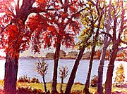 Under The Maple Along The Charles River Print by Rita Brown