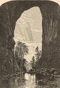Formation Drawings Posters - Under the Natural Bridge 1872 Engraving Poster by Antique Engravings
