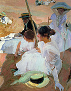 Vacations Painting Prints - Under the Parasol Print by Joaquin Sorolla y Bastida