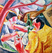 Pink Abstract Art Paintings - Under the Pergola at Naples by Umberto Boccioni