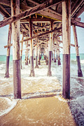 Ocean Photography Metal Prints - Under the Pier in Southern California Picture Metal Print by Paul Velgos