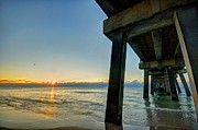 Beach Fence Digital Art Posters - Under The Pier Poster by Michael Thomas