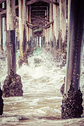 Ocean Photography Metal Prints - Under the Pier Vintage California Picture Metal Print by Paul Velgos